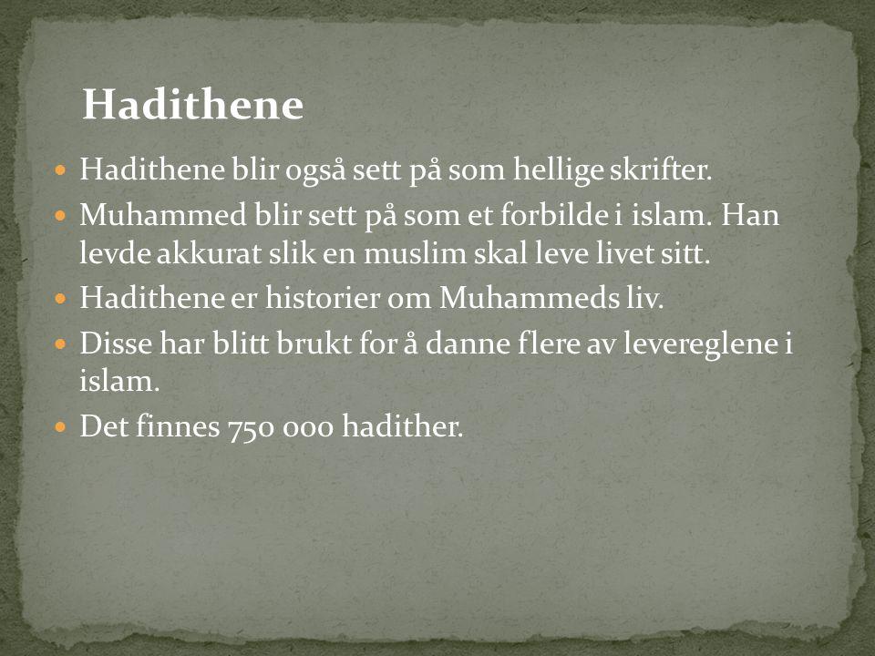 Hadithene Hadithene blir også sett på som hellige skrifter.