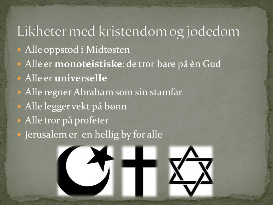 Likheter med kristendom og jødedom