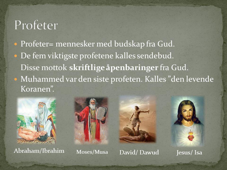 Profeter Profeter= mennesker med budskap fra Gud.