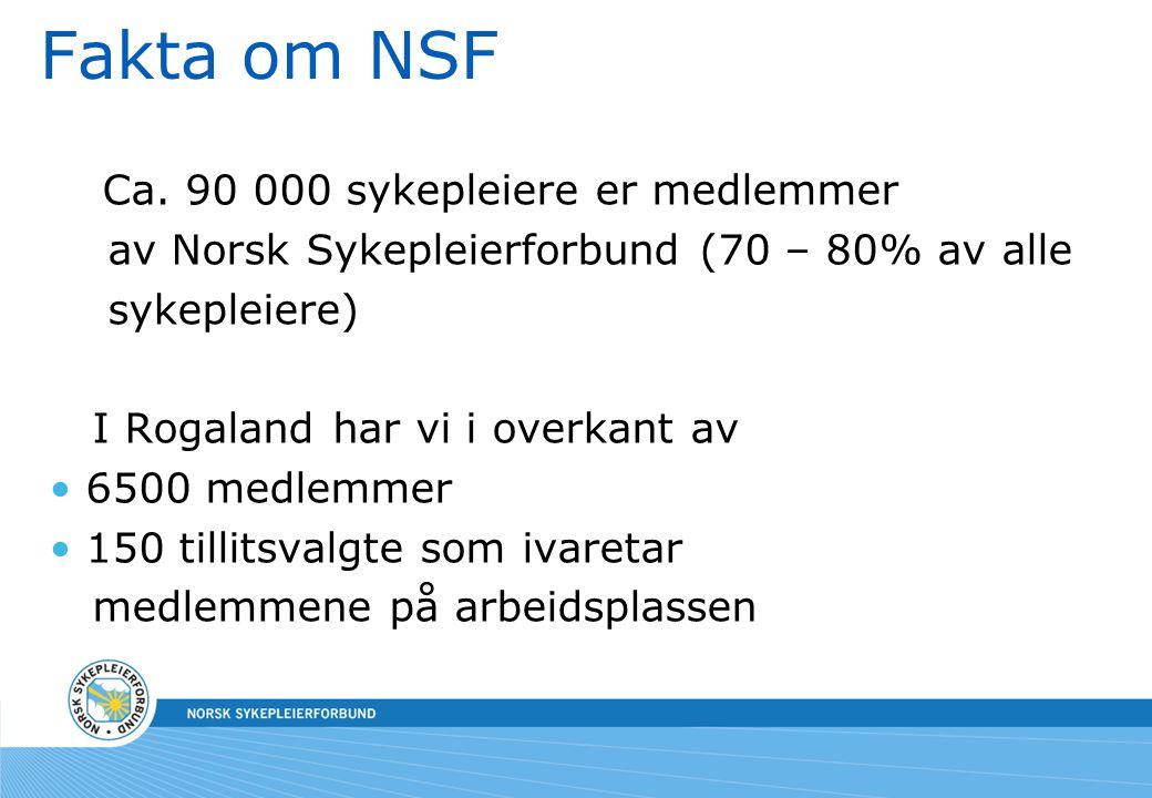 Fakta om NSF Ca. 90 000 sykepleiere er medlemmer