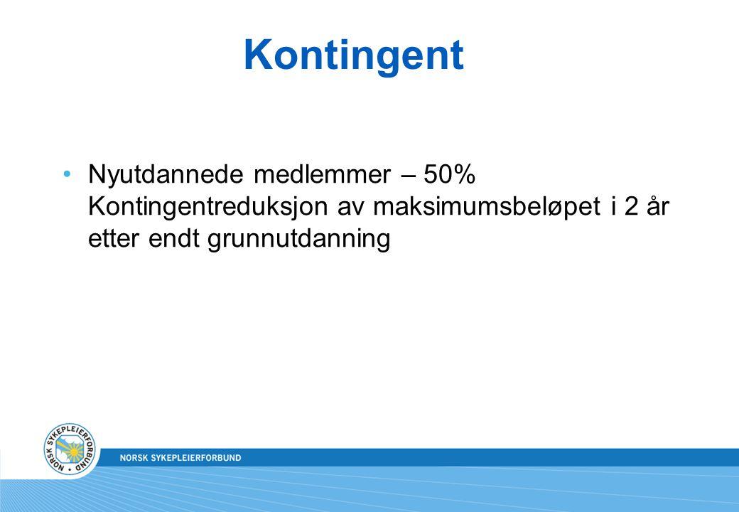 Kontingent Nyutdannede medlemmer – 50% Kontingentreduksjon av maksimumsbeløpet i 2 år etter endt grunnutdanning.