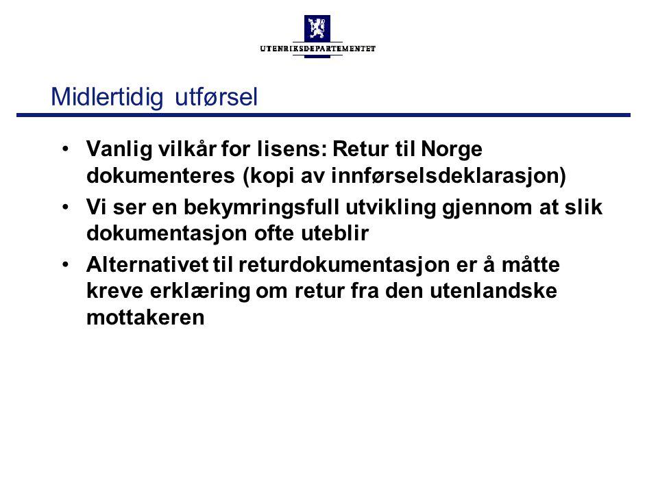 Midlertidig utførsel Vanlig vilkår for lisens: Retur til Norge dokumenteres (kopi av innførselsdeklarasjon)