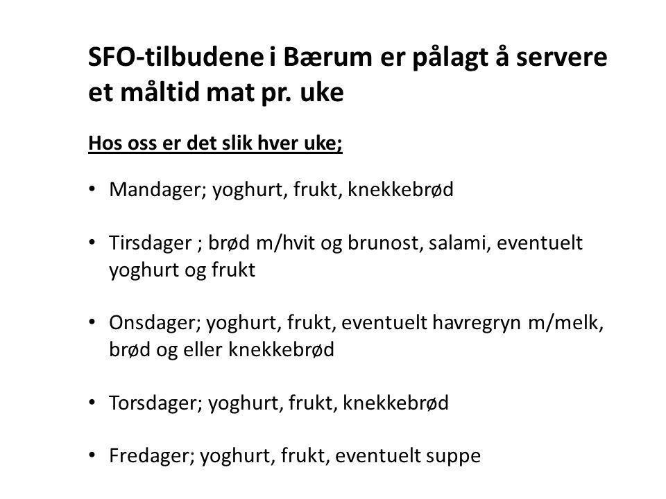SFO-tilbudene i Bærum er pålagt å servere et måltid mat pr. uke