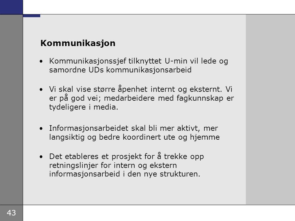 Kommunikasjon Kommunikasjonssjef tilknyttet U-min vil lede og samordne UDs kommunikasjonsarbeid.