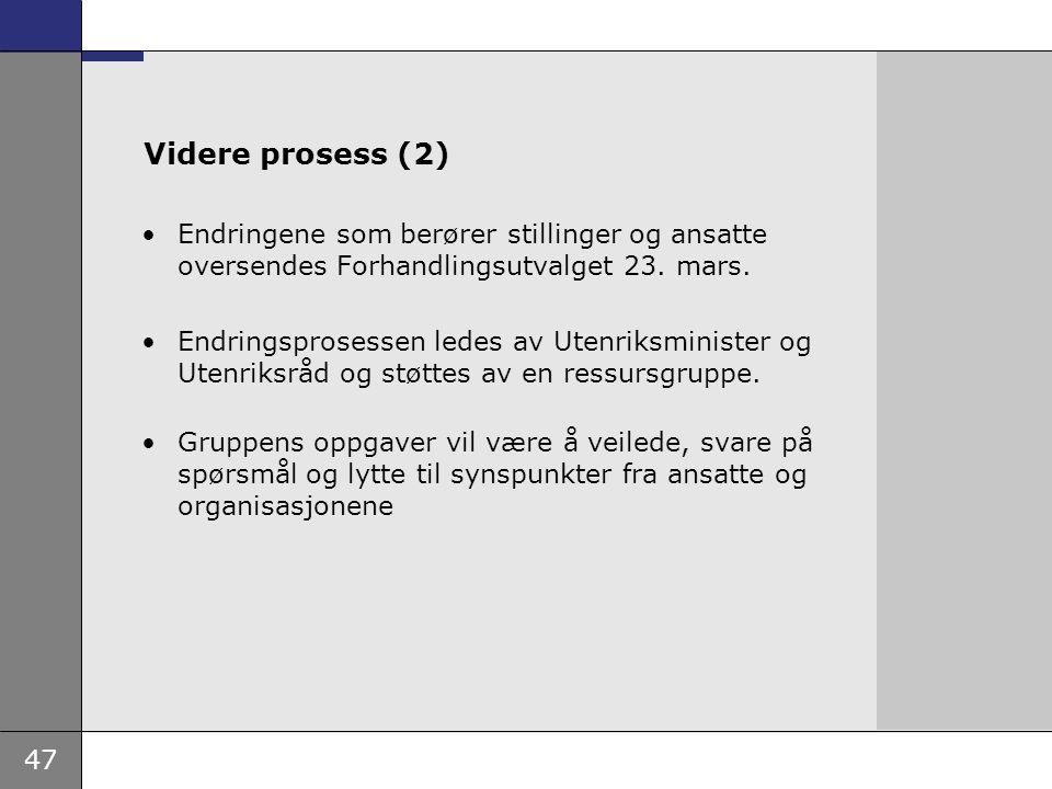 Videre prosess (2) Endringene som berører stillinger og ansatte oversendes Forhandlingsutvalget 23. mars.