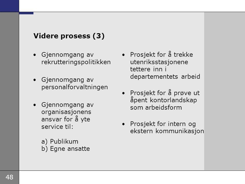 Videre prosess (3) Gjennomgang av rekrutteringspolitikken