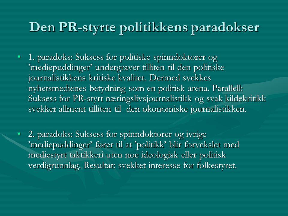 Den PR-styrte politikkens paradokser