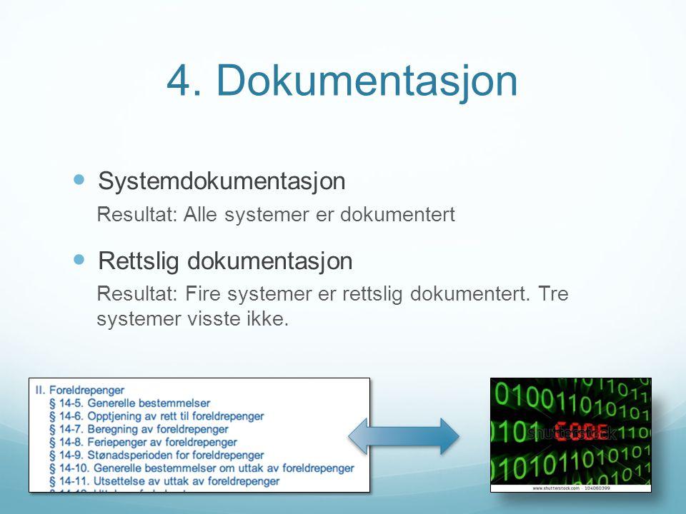 4. Dokumentasjon Systemdokumentasjon Rettslig dokumentasjon
