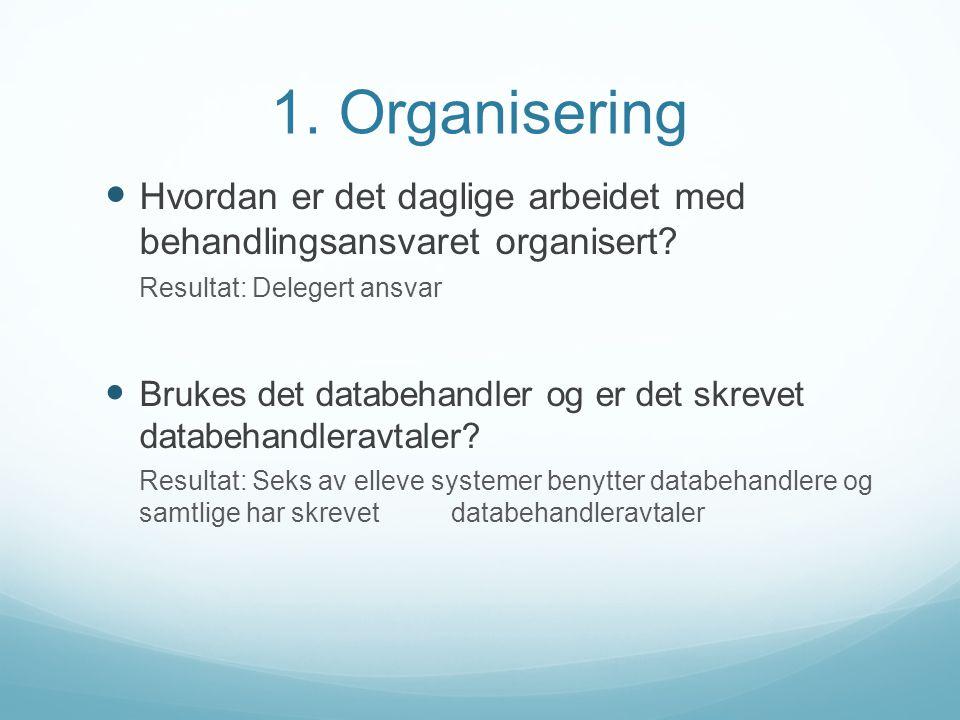 1. Organisering Hvordan er det daglige arbeidet med behandlingsansvaret organisert Resultat: Delegert ansvar.