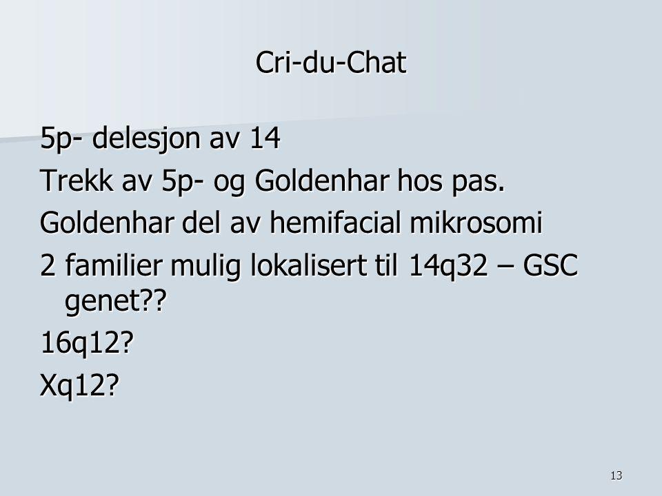 Cri-du-Chat 5p- delesjon av 14. Trekk av 5p- og Goldenhar hos pas. Goldenhar del av hemifacial mikrosomi.