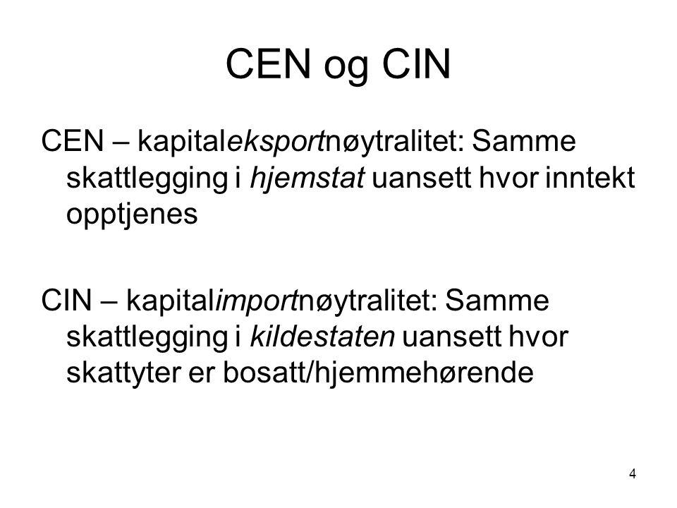 CEN og CIN CEN – kapitaleksportnøytralitet: Samme skattlegging i hjemstat uansett hvor inntekt opptjenes.