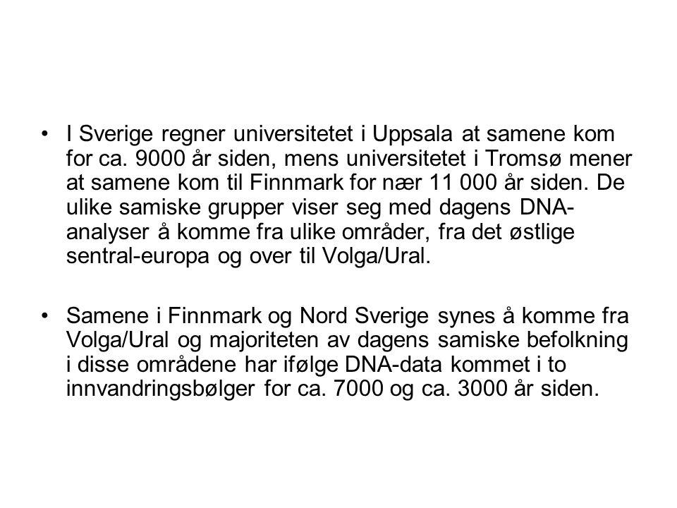 I Sverige regner universitetet i Uppsala at samene kom for ca