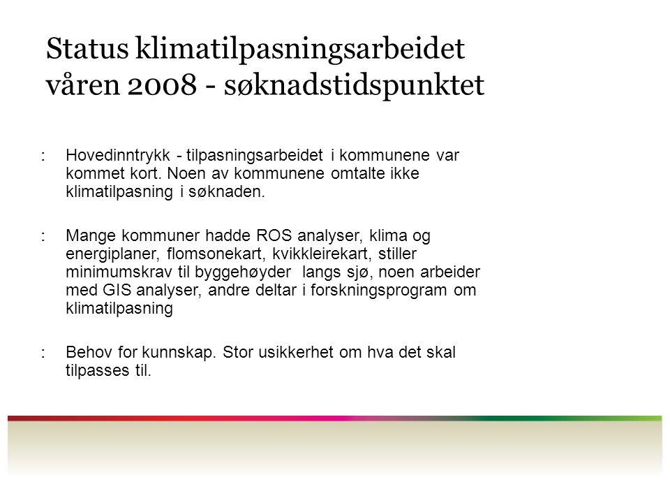 Status klimatilpasningsarbeidet våren 2008 - søknadstidspunktet