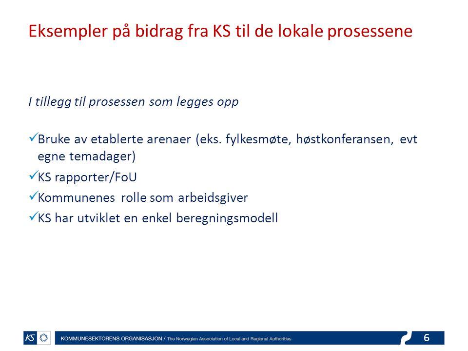Eksempler på bidrag fra KS til de lokale prosessene