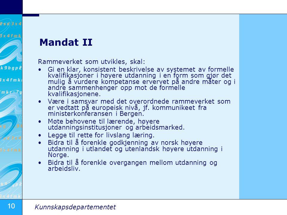 Mandat II Rammeverket som utvikles, skal:
