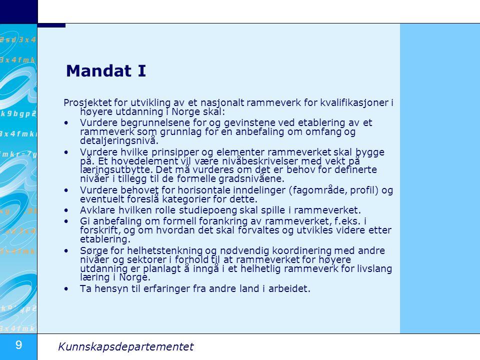Mandat I Prosjektet for utvikling av et nasjonalt rammeverk for kvalifikasjoner i høyere utdanning i Norge skal: