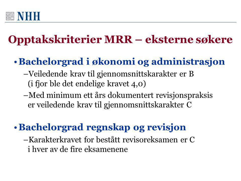 Opptakskriterier MRR – eksterne søkere