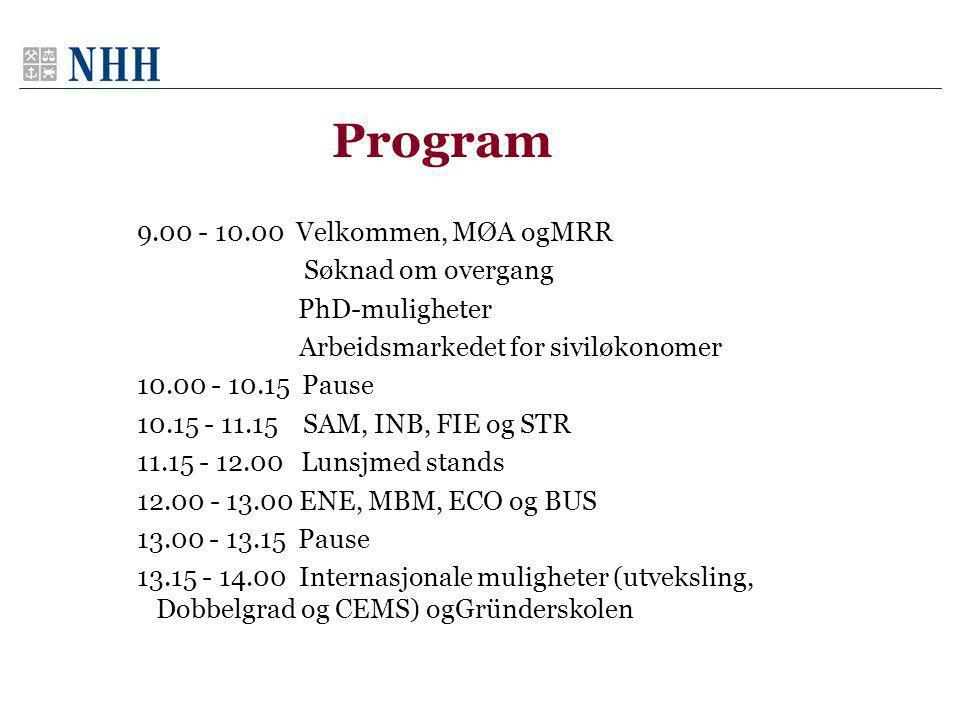 Program 9.00 - 10.00 Velkommen, MØA ogMRR Søknad om overgang