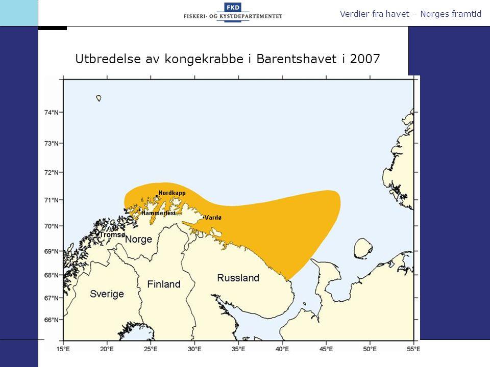 Utbredelse av kongekrabbe i Barentshavet i 2007