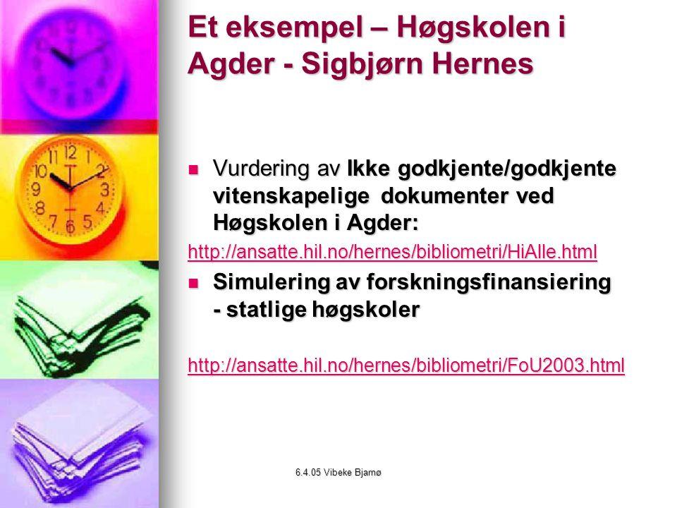 Et eksempel – Høgskolen i Agder - Sigbjørn Hernes