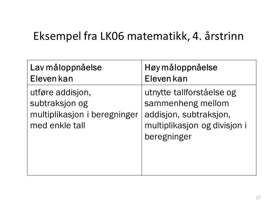 Eksempel fra LK06 matematikk, 4. årstrinn