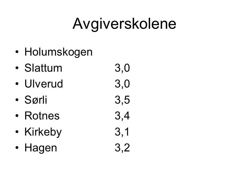 Avgiverskolene Holumskogen Slattum 3,0 Ulverud 3,0 Sørli 3,5