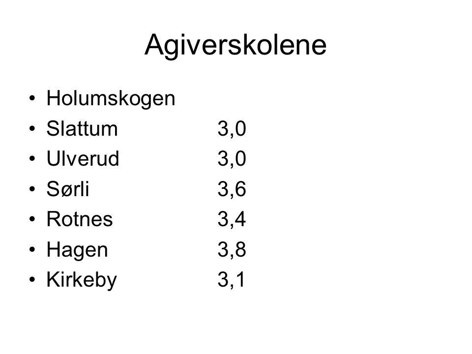 Agiverskolene Holumskogen Slattum 3,0 Ulverud 3,0 Sørli 3,6 Rotnes 3,4