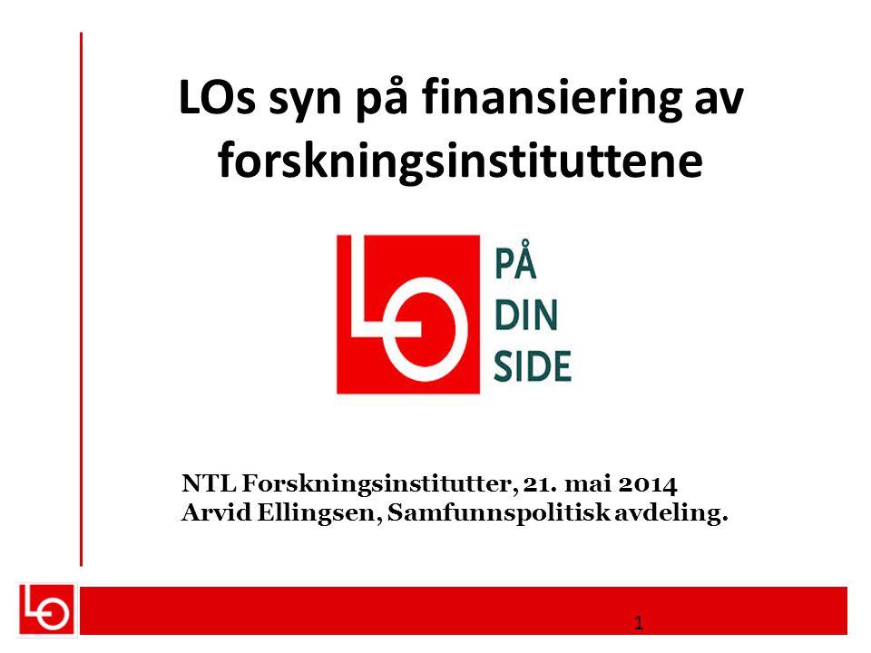 LOs syn på finansiering av forskningsinstituttene