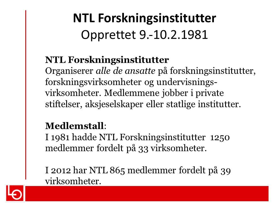 NTL Forskningsinstitutter Opprettet 9.‐10.2.1981