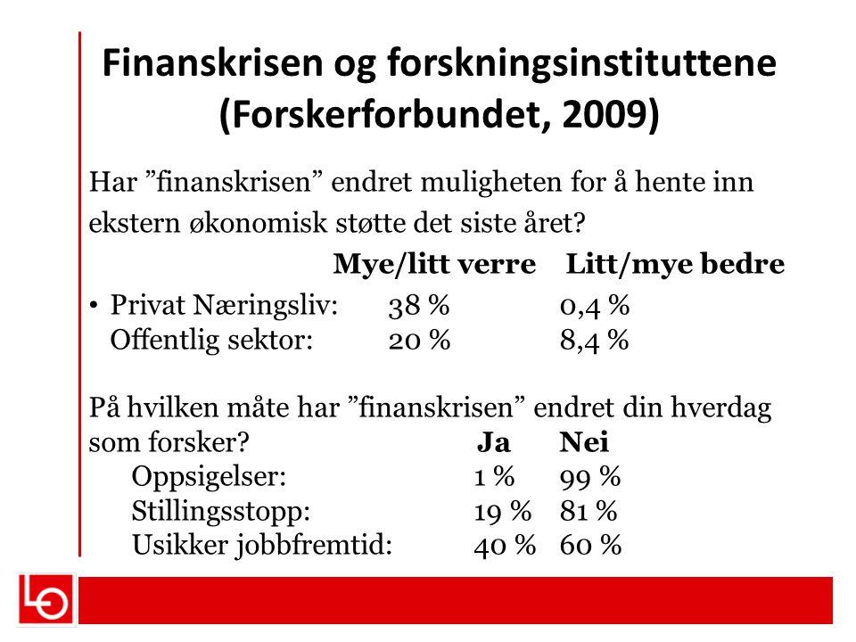 Finanskrisen og forskningsinstituttene (Forskerforbundet, 2009)