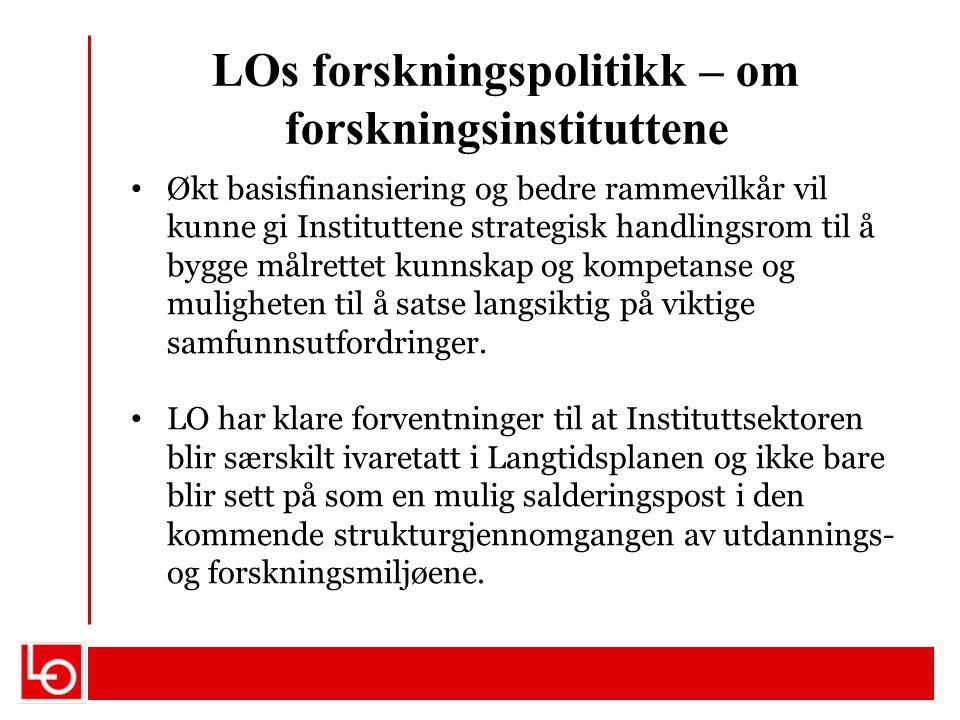 LOs forskningspolitikk – om forskningsinstituttene