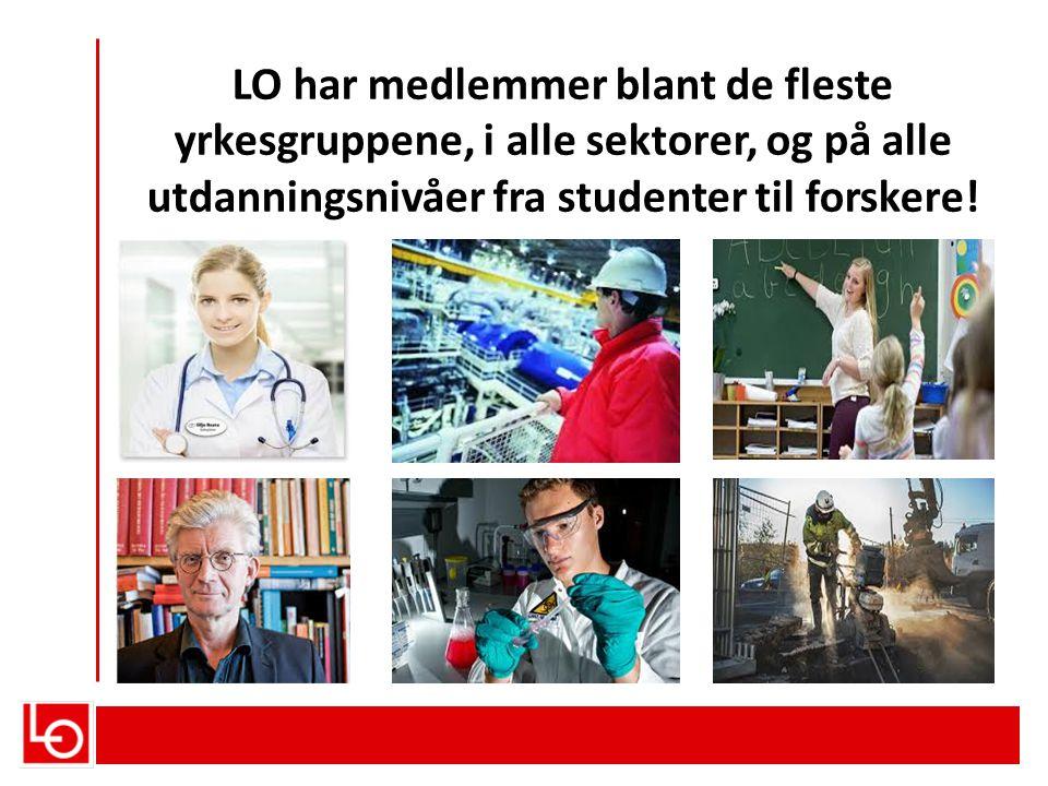 LO har medlemmer blant de fleste yrkesgruppene, i alle sektorer, og på alle utdanningsnivåer fra studenter til forskere!