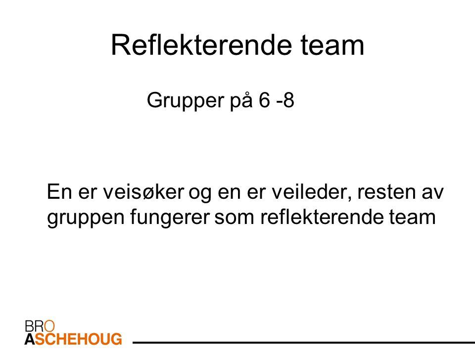 Reflekterende team Grupper på 6 -8