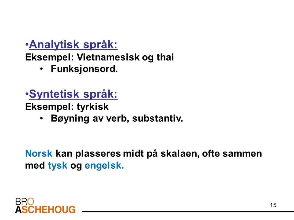 Analytisk språk: Syntetisk språk: Eksempel: Vietnamesisk og thai