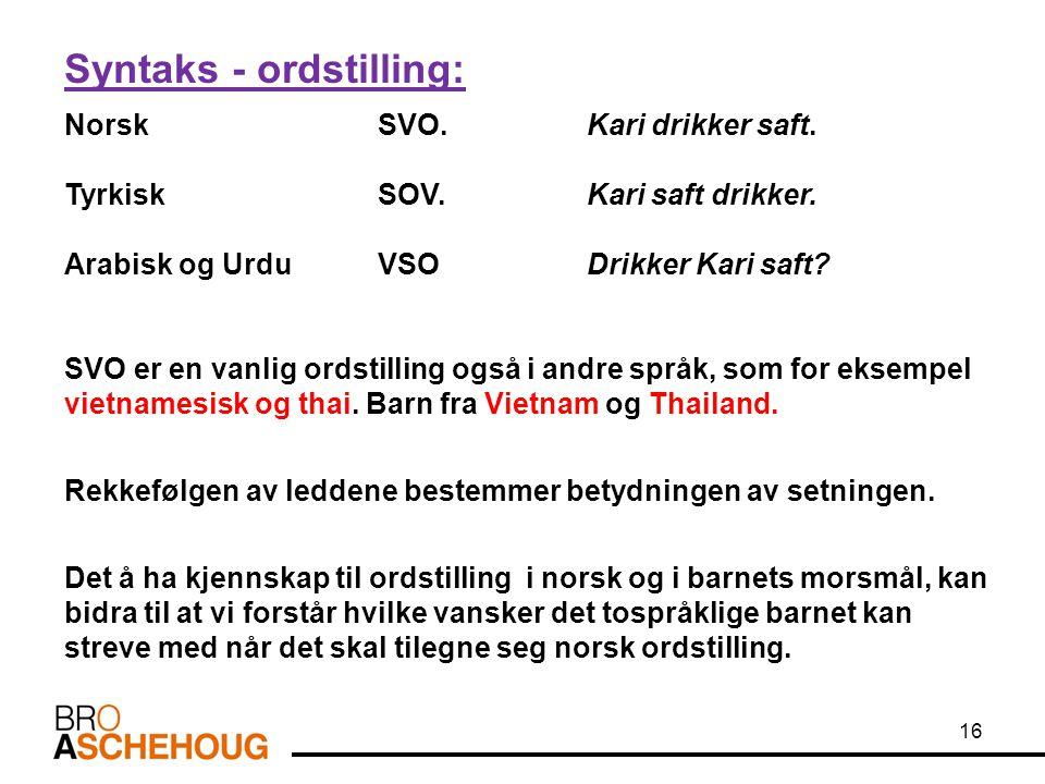 Syntaks - ordstilling: