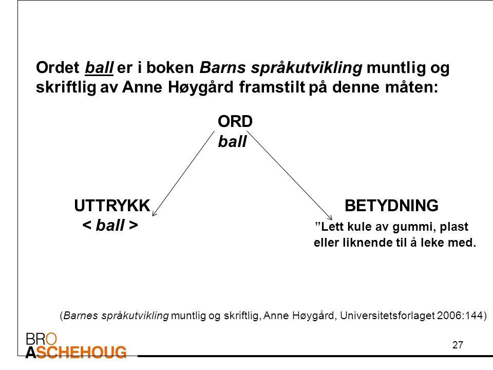 Ordet ball er i boken Barns språkutvikling muntlig og