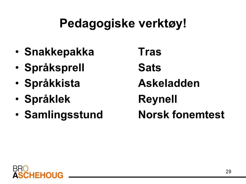Pedagogiske verktøy! Snakkepakka Tras Språksprell Sats