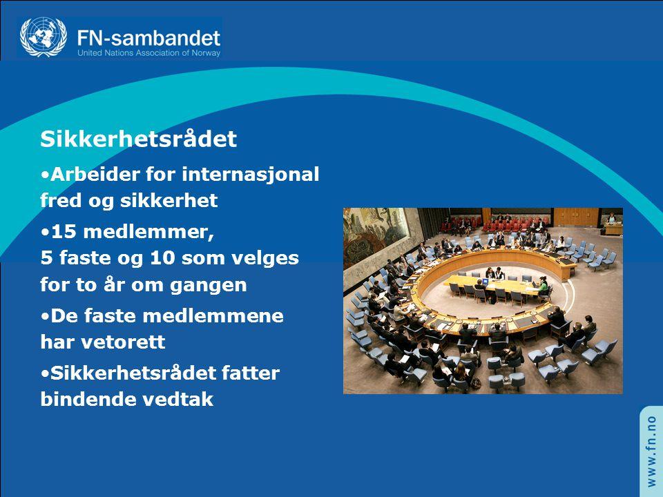 Sikkerhetsrådet Arbeider for internasjonal fred og sikkerhet
