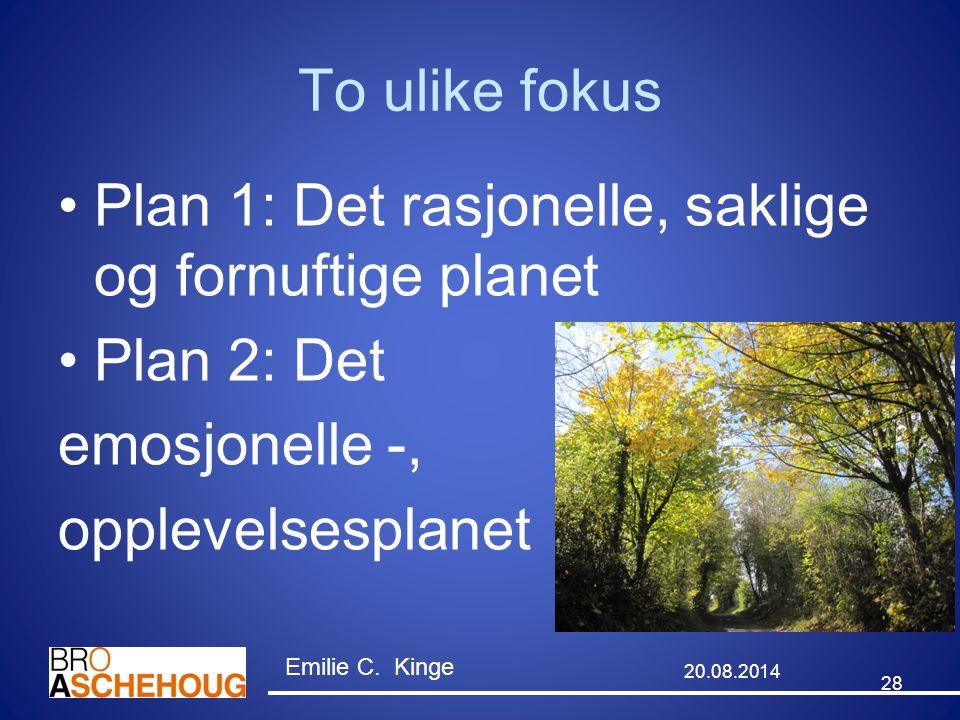 Plan 1: Det rasjonelle, saklige og fornuftige planet Plan 2: Det