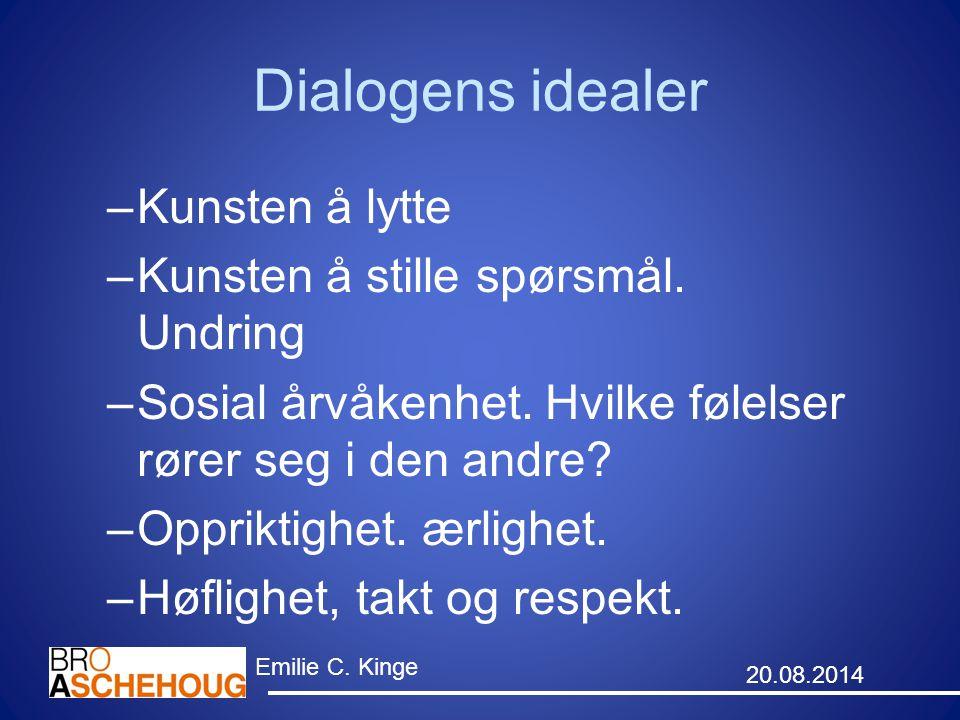 Dialogens idealer Kunsten å lytte Kunsten å stille spørsmål. Undring