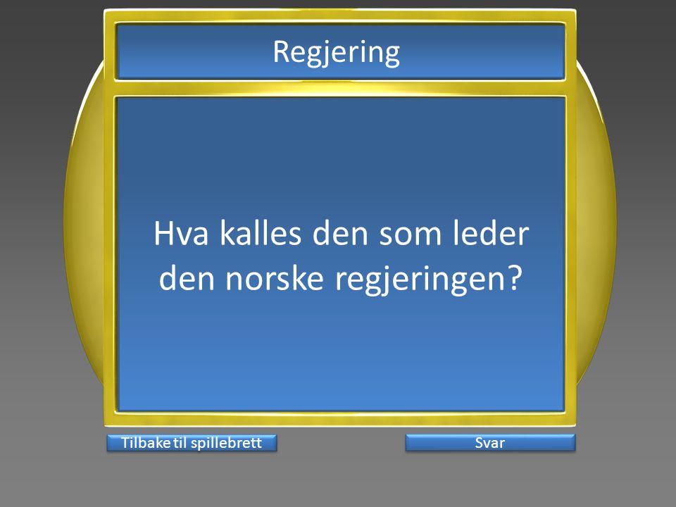 Hva kalles den som leder den norske regjeringen