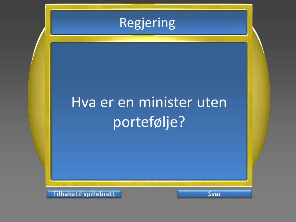 Hva er en minister uten portefølje