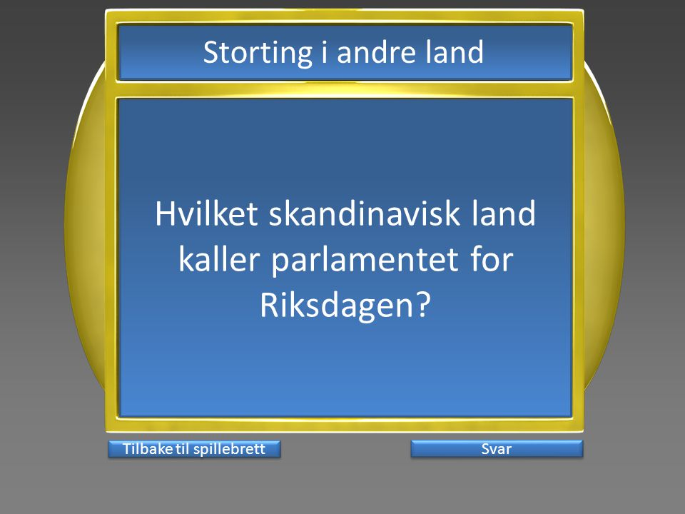 Hvilket skandinavisk land kaller parlamentet for Riksdagen