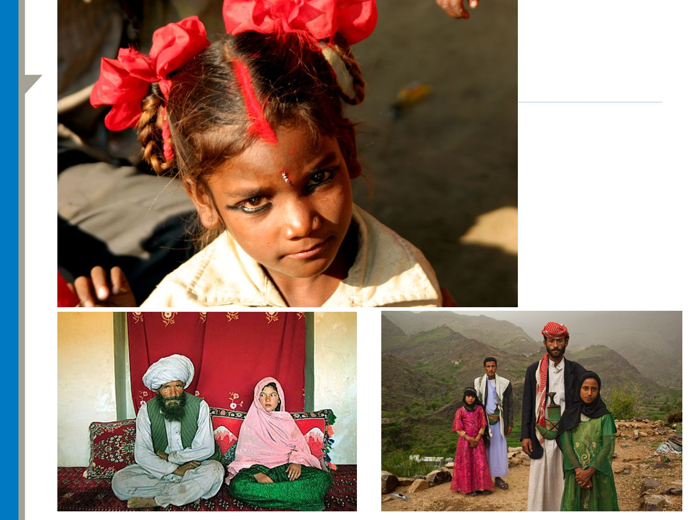 Øverst: Barnebrud Bilde til venstre: Faiz (40) og Ghulam (11) i hjemmet hennes før bryllupet deres i Damarda, Afghanistan 11. September 2005.