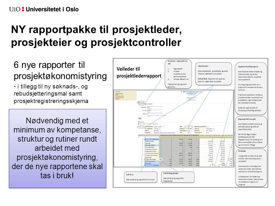 NY rapportpakke til prosjektleder, prosjekteier og prosjektcontroller