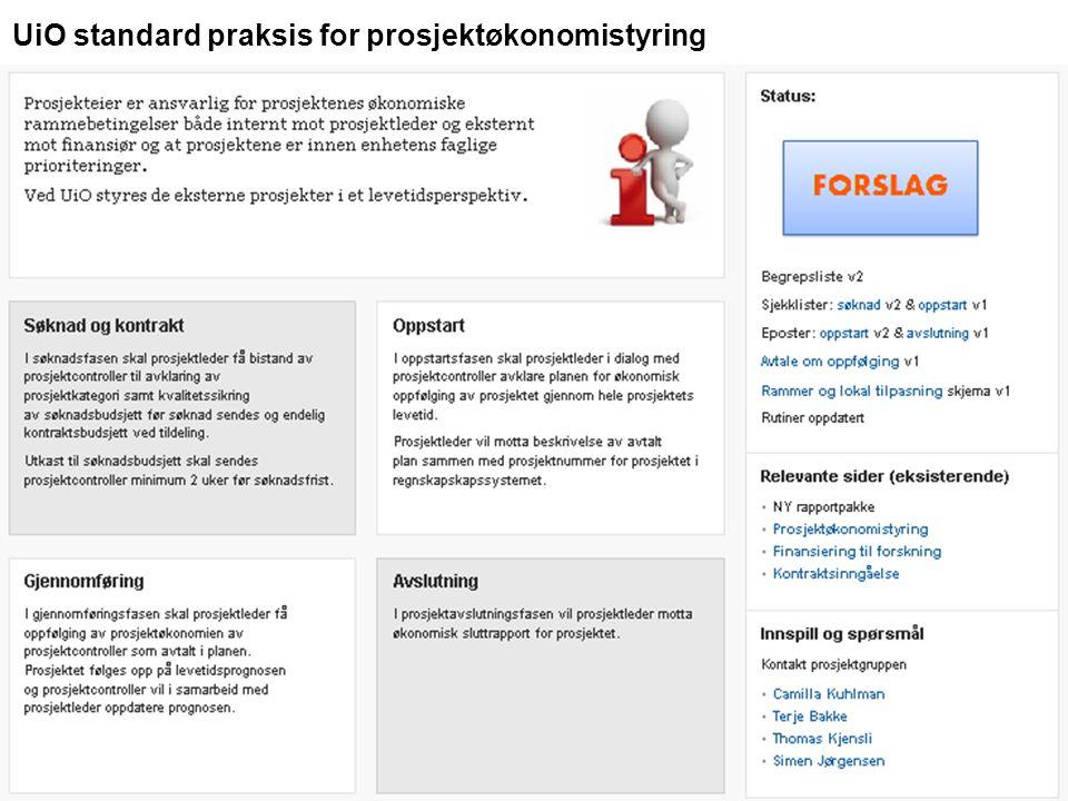 UiO standard praksis for prosjektøkonomistyring