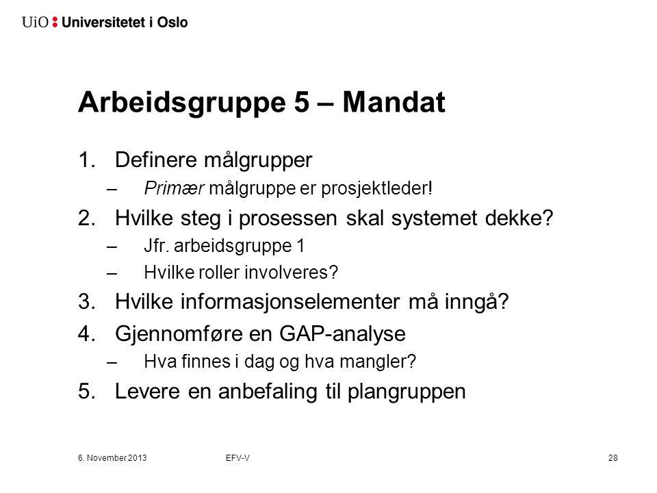 Arbeidsgruppe 5 – Mandat