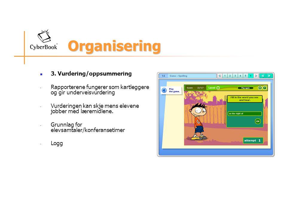 Organisering 3. Vurdering/oppsummering