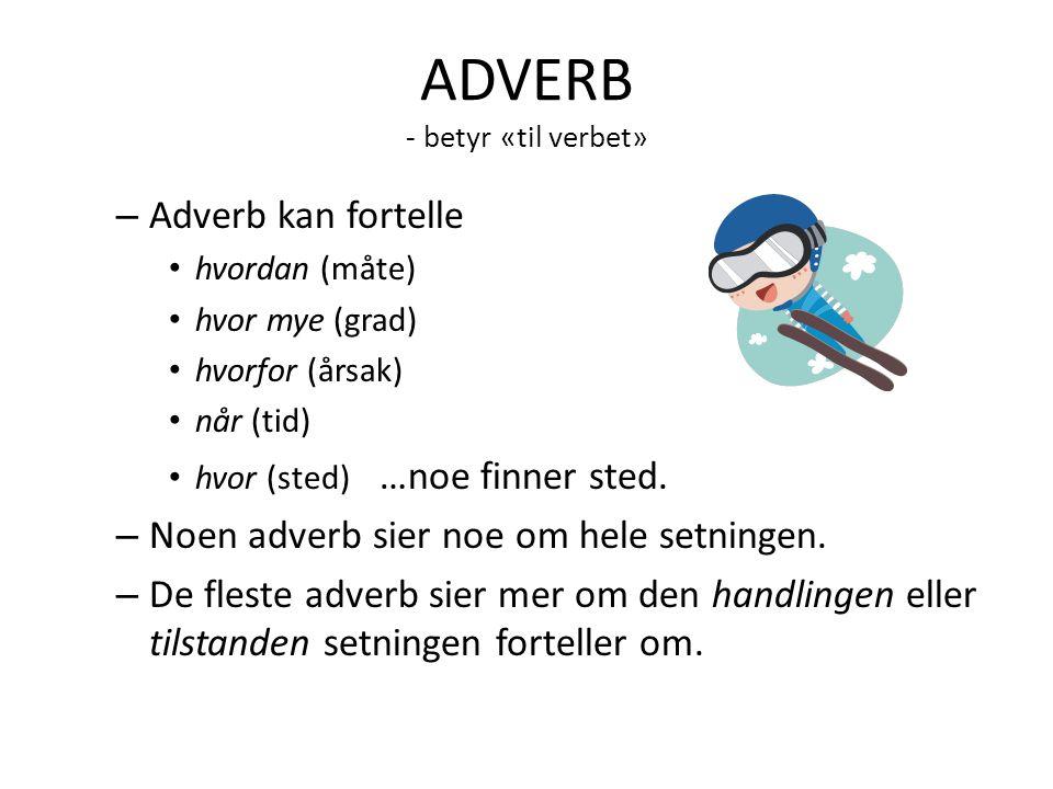 ADVERB - betyr «til verbet»