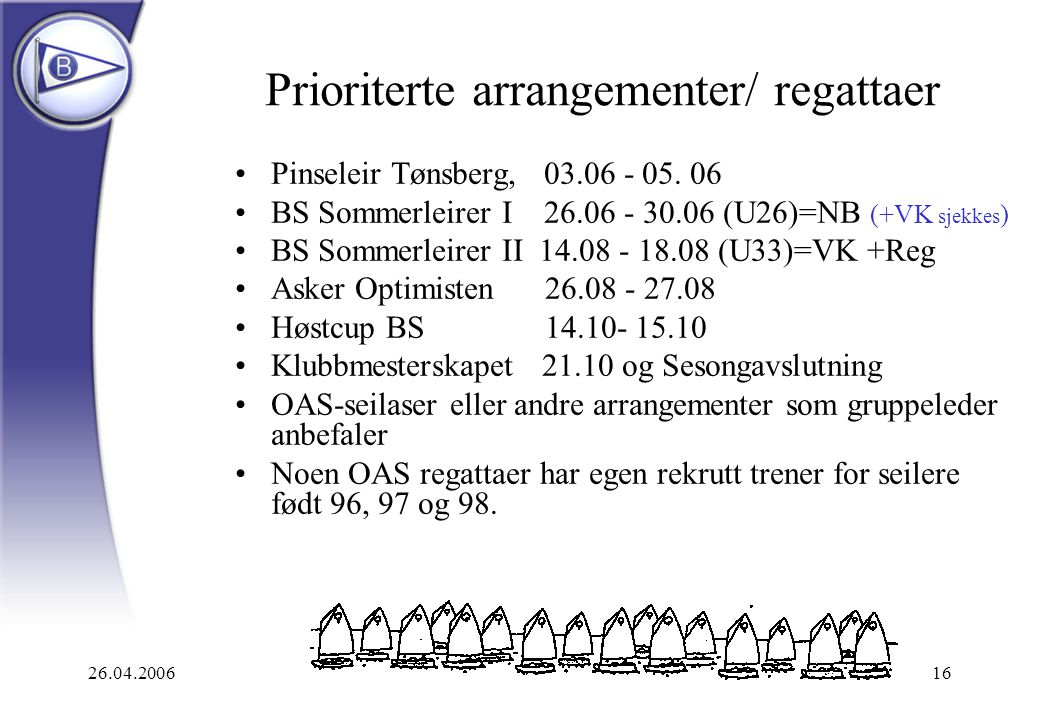 Prioriterte arrangementer/ regattaer